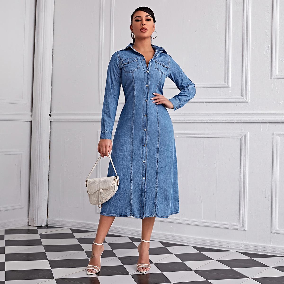 С карманами одноцветный повседневный джинсовые платья