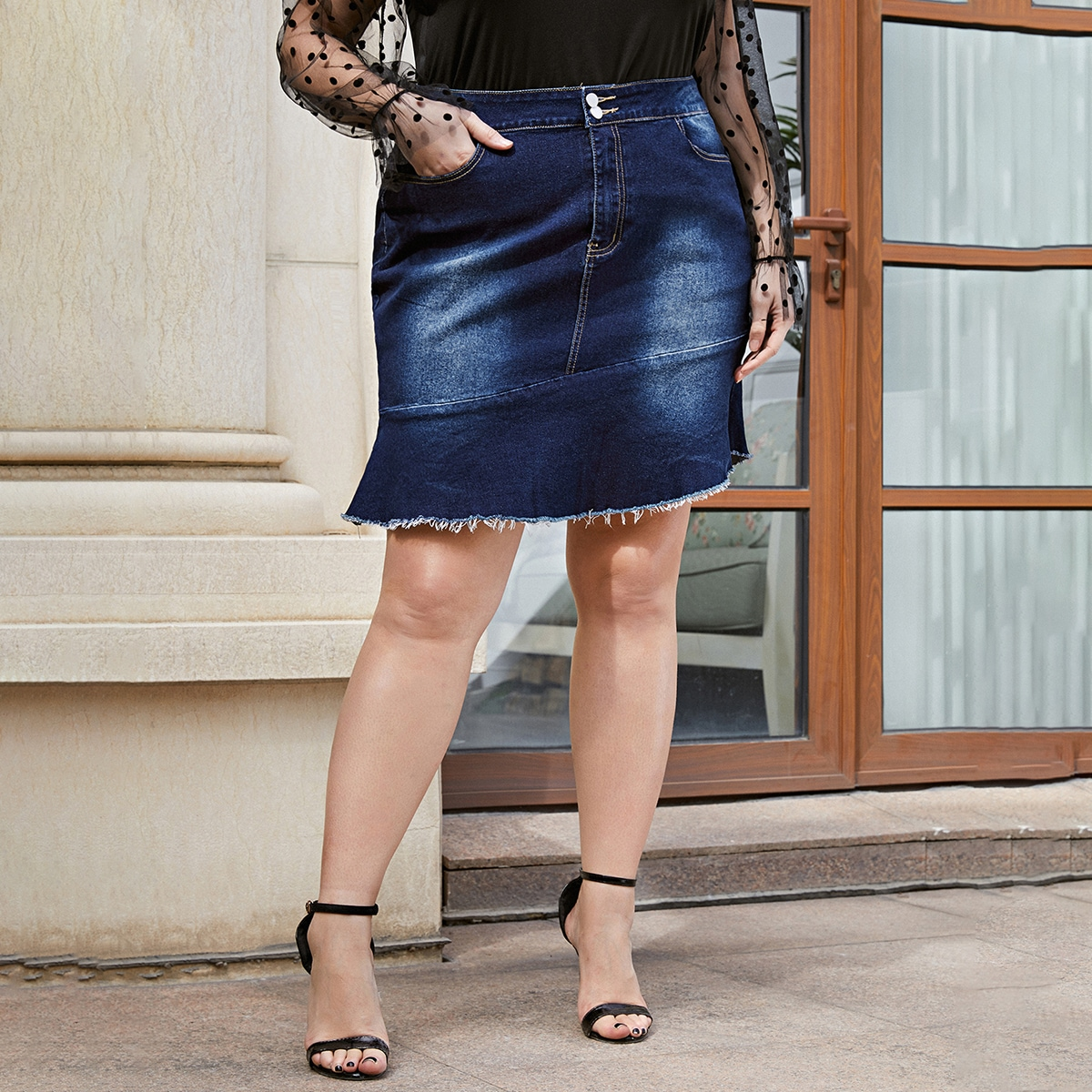 На молнии тай дай повседневный джинсовые юбки размер плюс