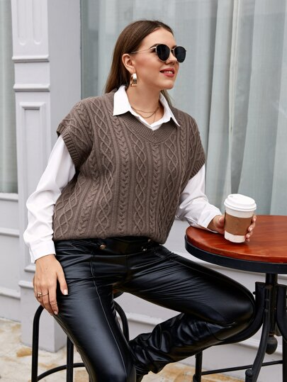 Plus V-neck Cable Knit Sweater Vest Without Blouse