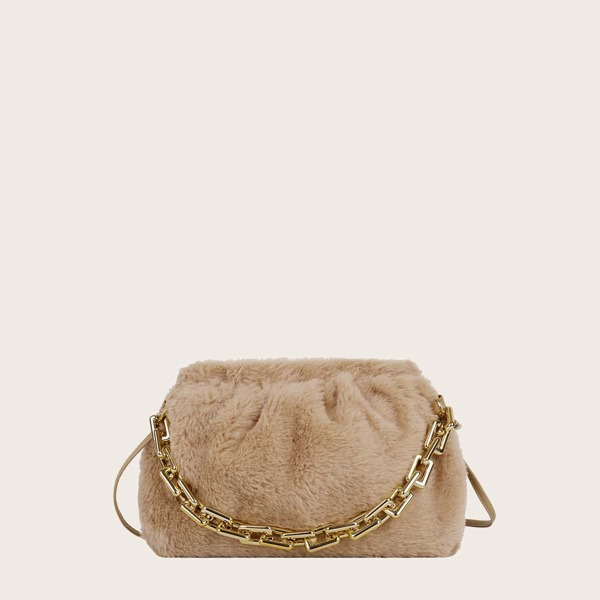 Minimalist Fluffy Satchel Bag, Khaki