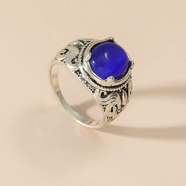 Gemstone Engraved Ring, Blue