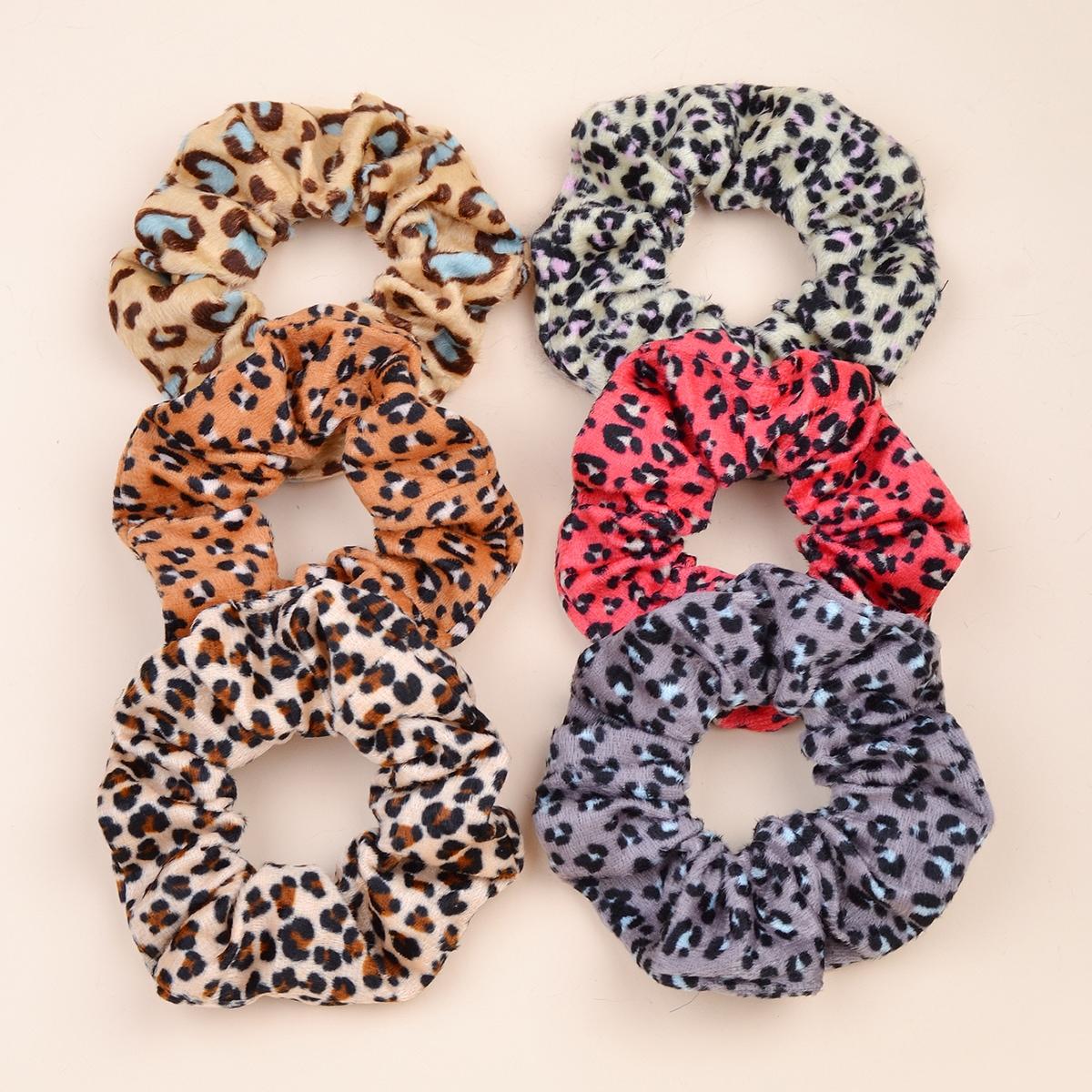 6pcs Toddler Girls Leopard Scrunchies