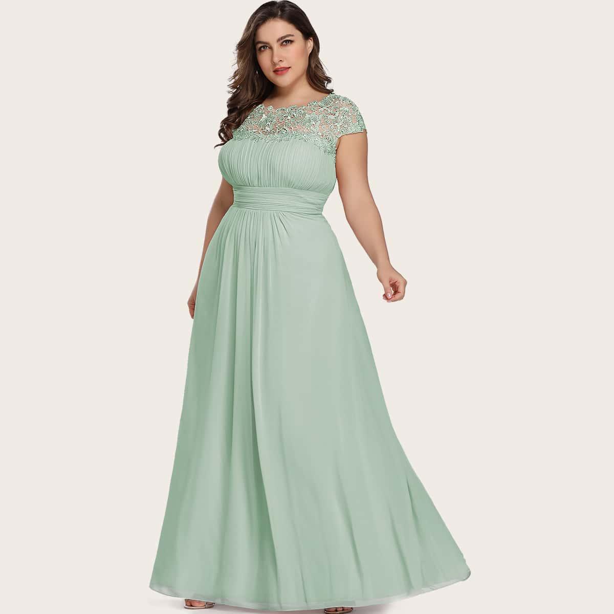 Plus Lace Yoke Pleated Chiffon Prom Dress