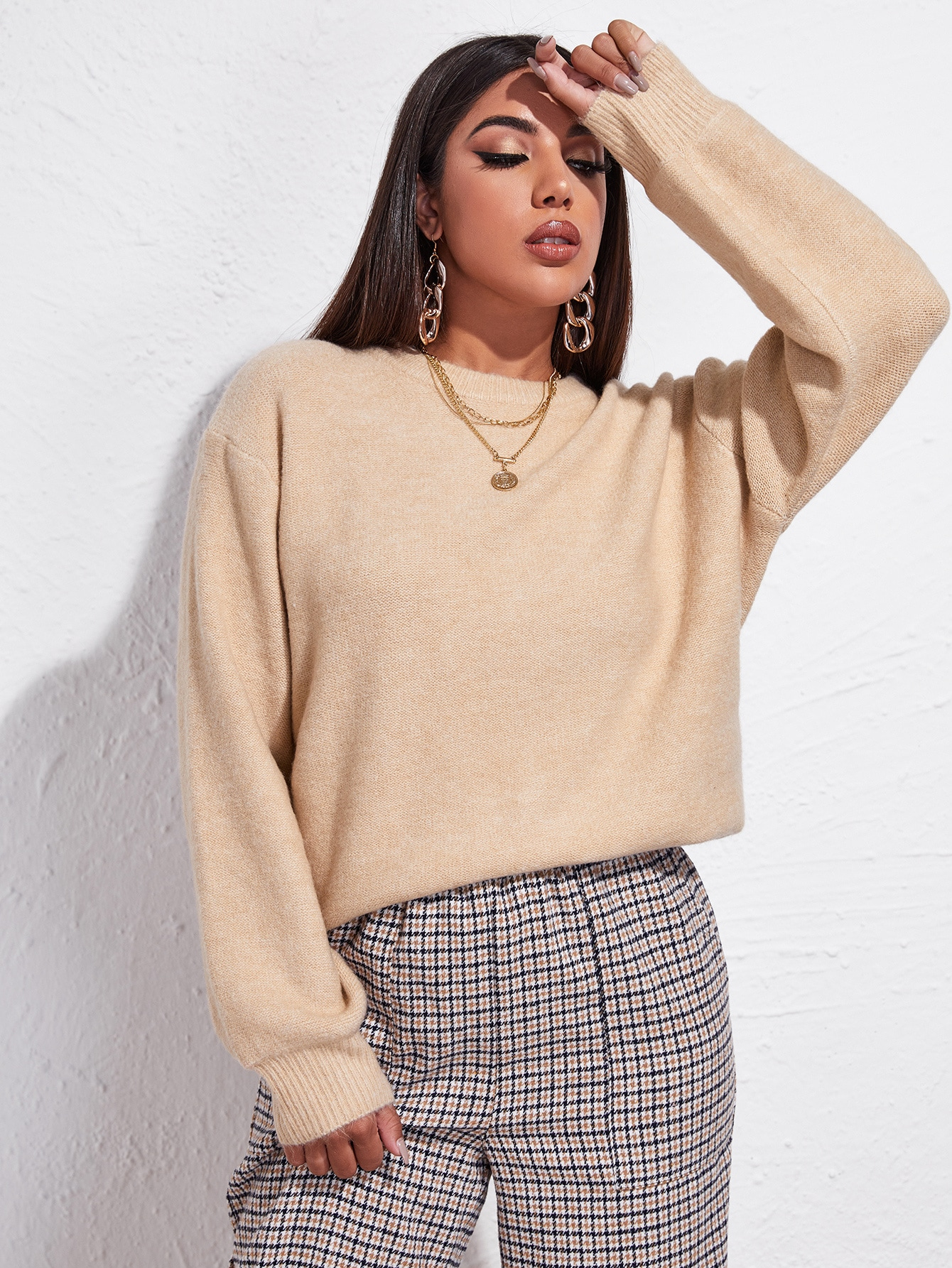 Drop Shoulder Solid Oversized Sweater thumbnail