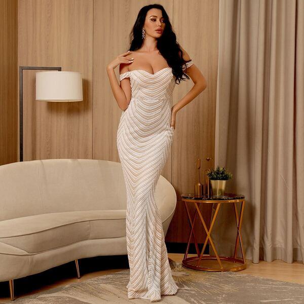 Off Shoulder Sequin Mermaid Prom Dress, White