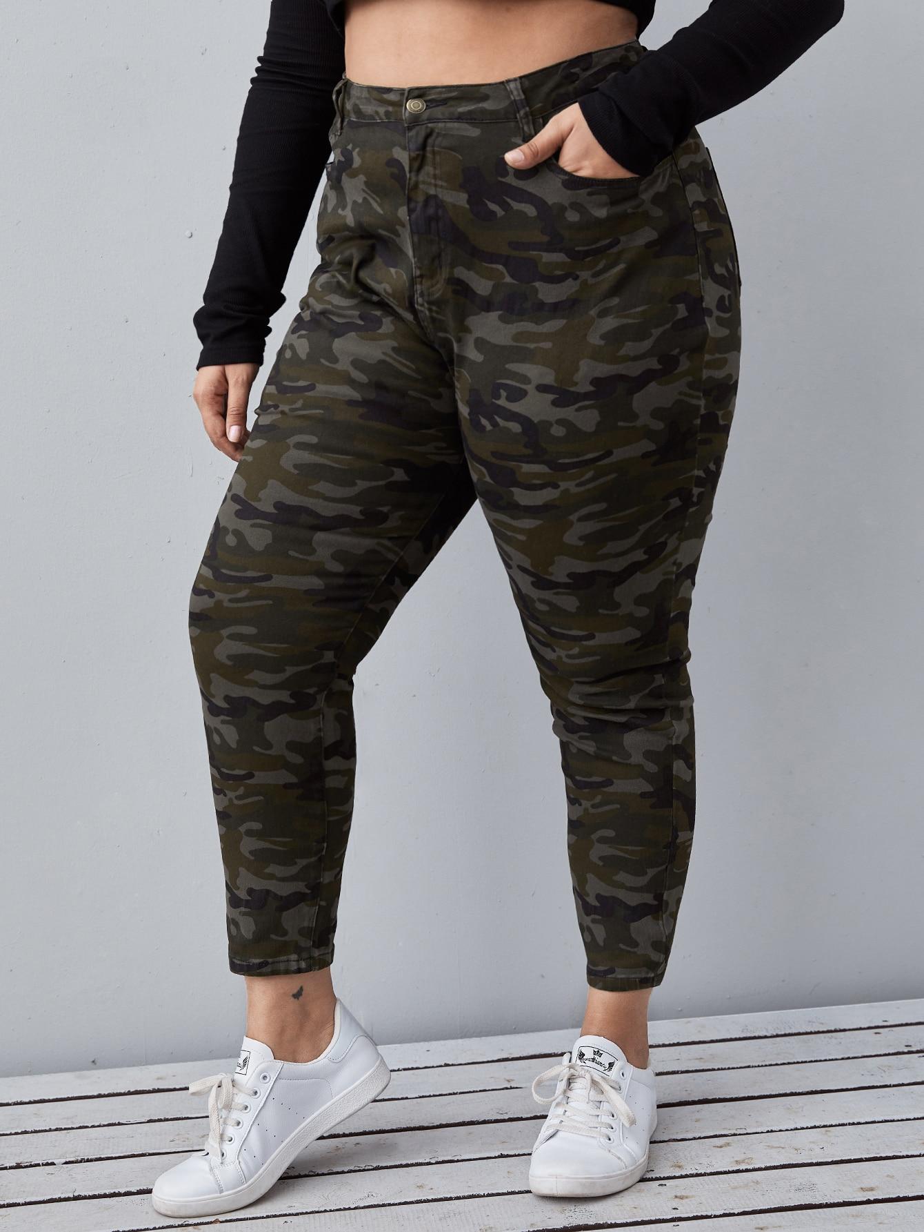Plus High Waist Slant Pocket Camo Skinny Jeans thumbnail
