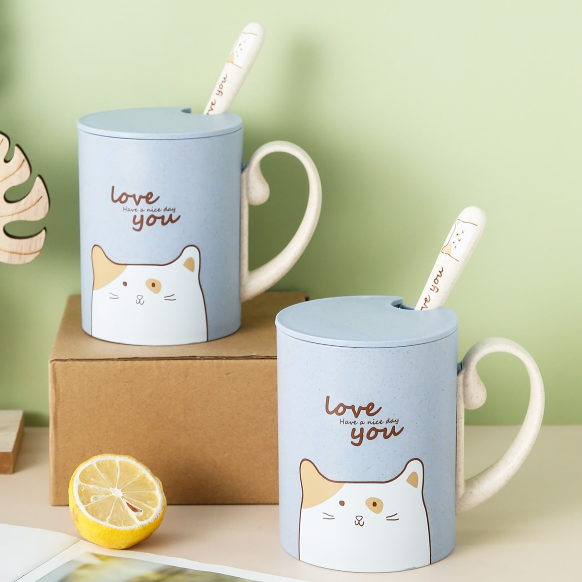 1pc Cartoon Graphic Cup With Spoon