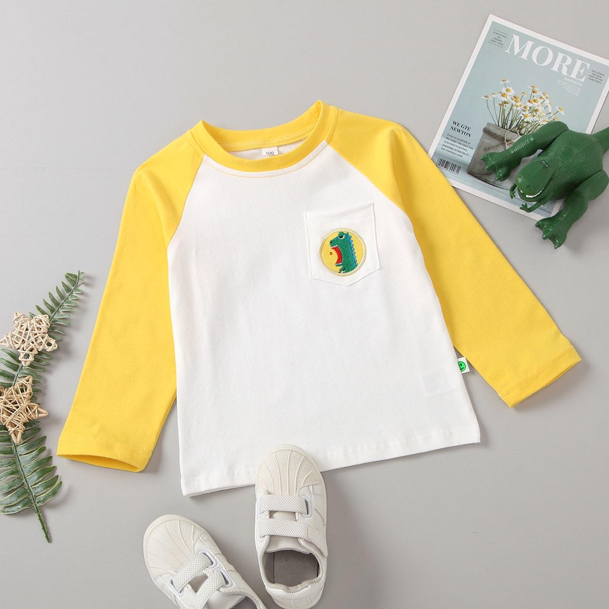 Вышивка с карикатурой повседневный футболки для маленьких девочек