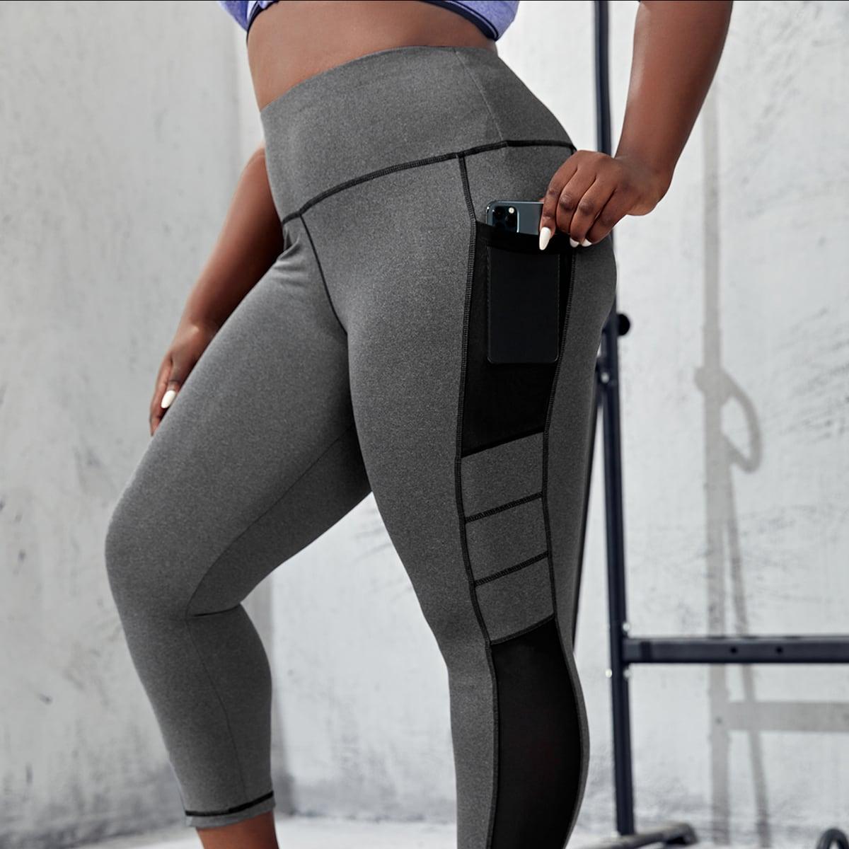 с карманами Контрастный цвет Спортивные леггинсы & брюки размера плюс