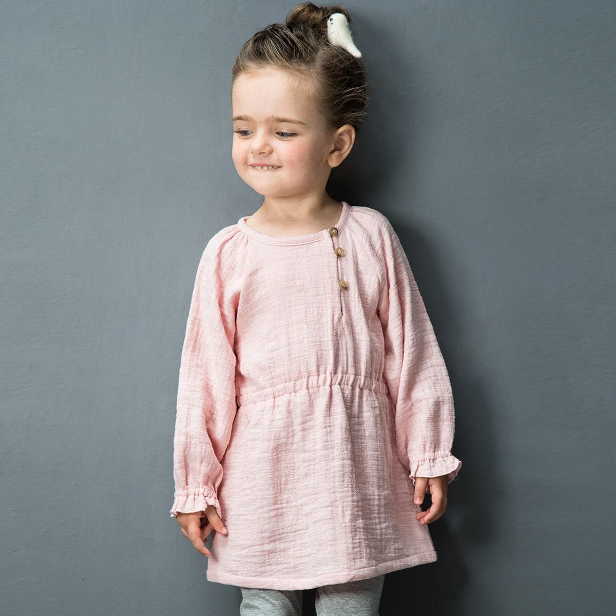 Однотонное платье с пуговицами для девочек