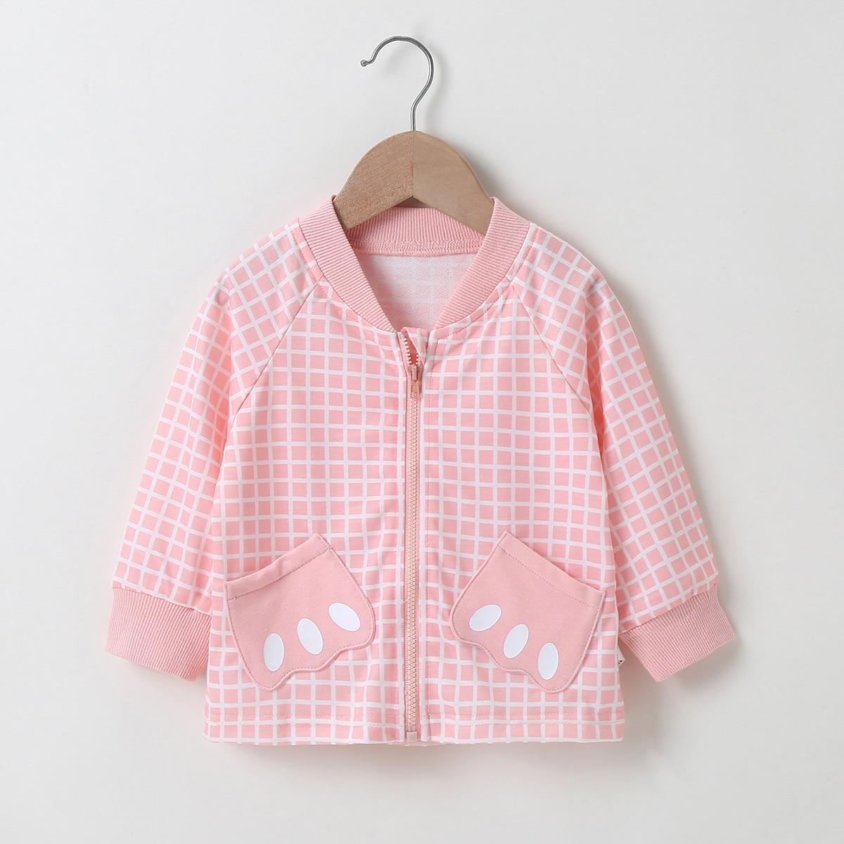 Куртка бомбер в клетку с рукавом реглан для девочек