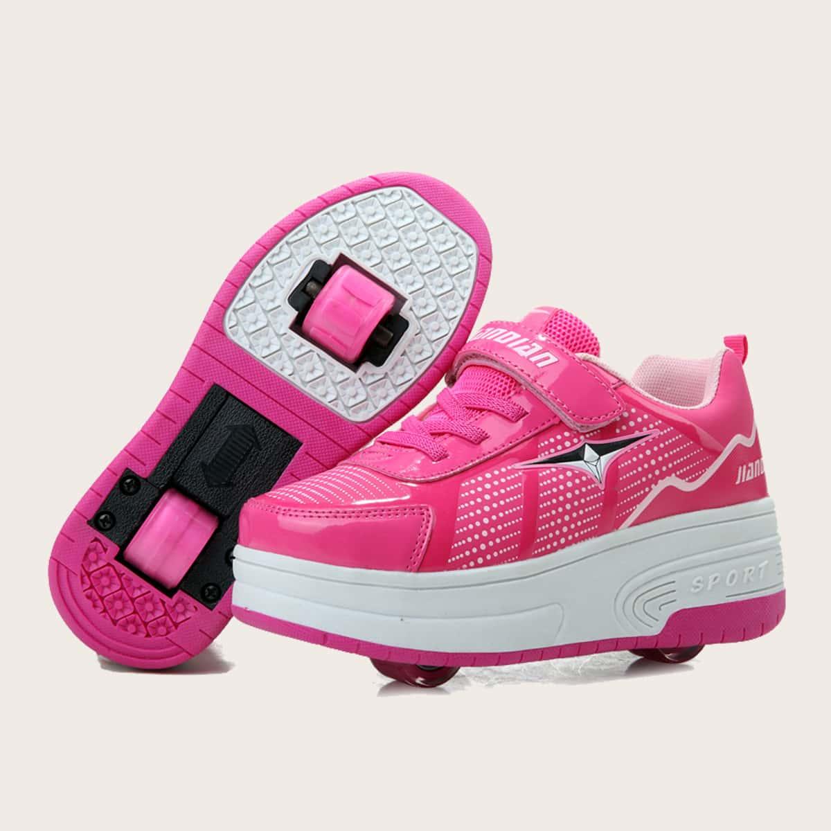 Кроссовки на липучках для девочек с колесом