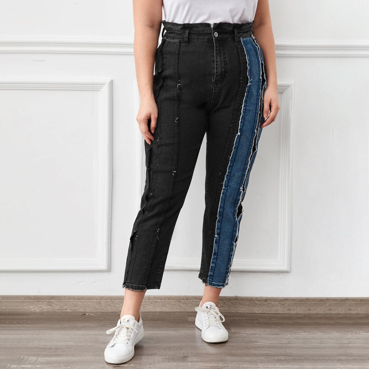 На пуговицах контрастный цвет повседневный джинсы размер плюс