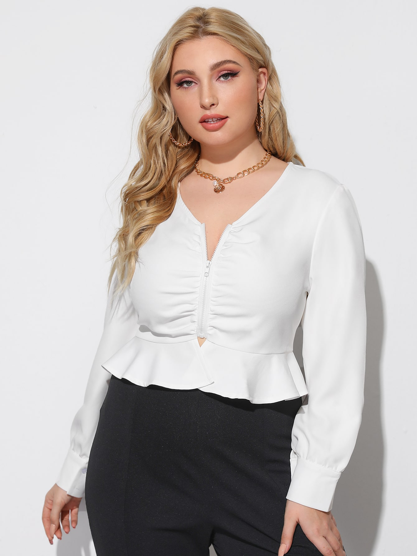 Plus Ruched Zip Up Crop Peplum Top thumbnail