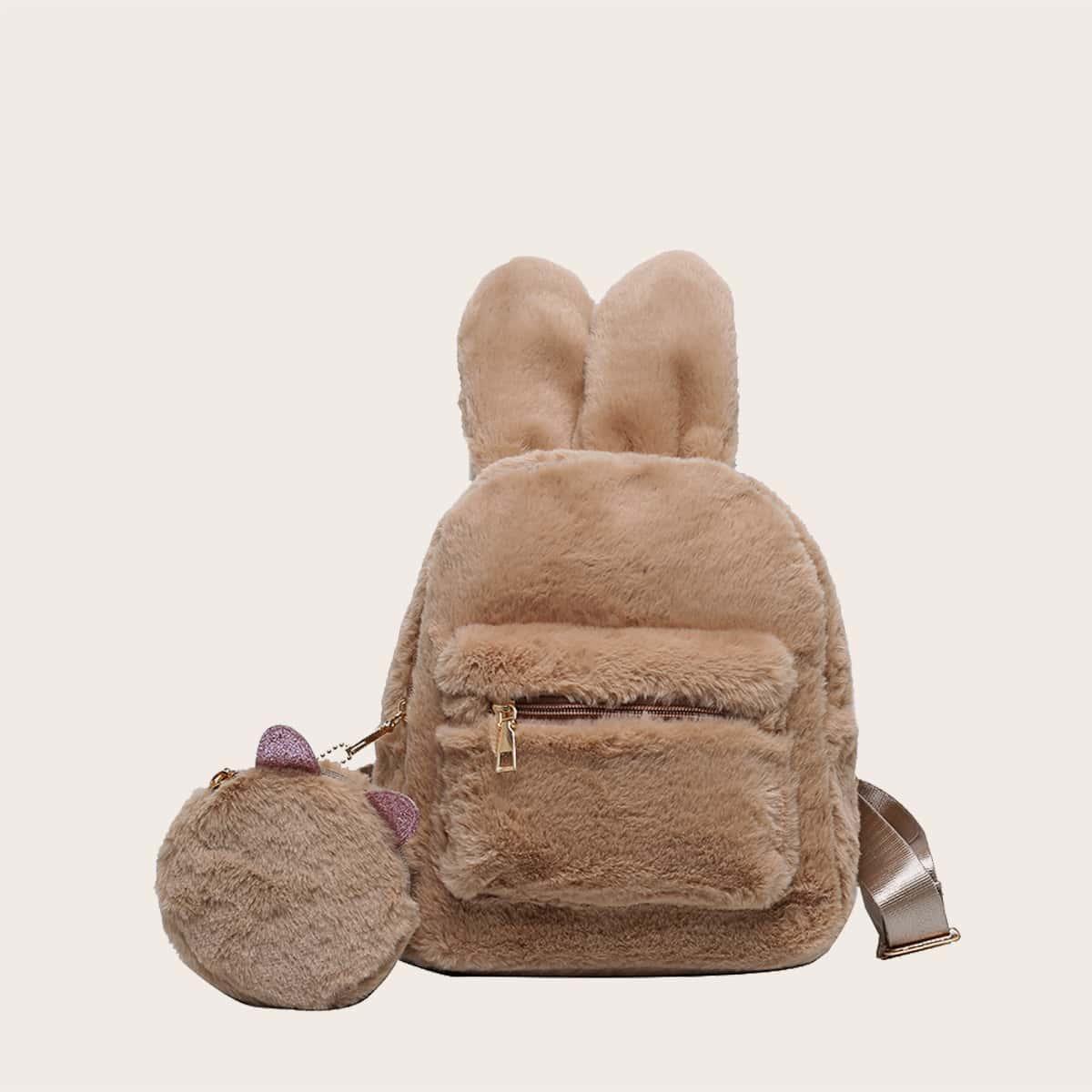 Плюшевый рюкзак с ушками и кошельком