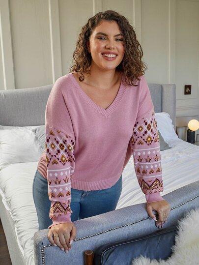 Plus Drop Shoulder Argyle Pattern Sweater