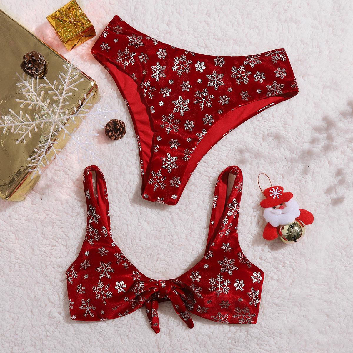 Бархатное бикини с принтом снежинок и узлом
