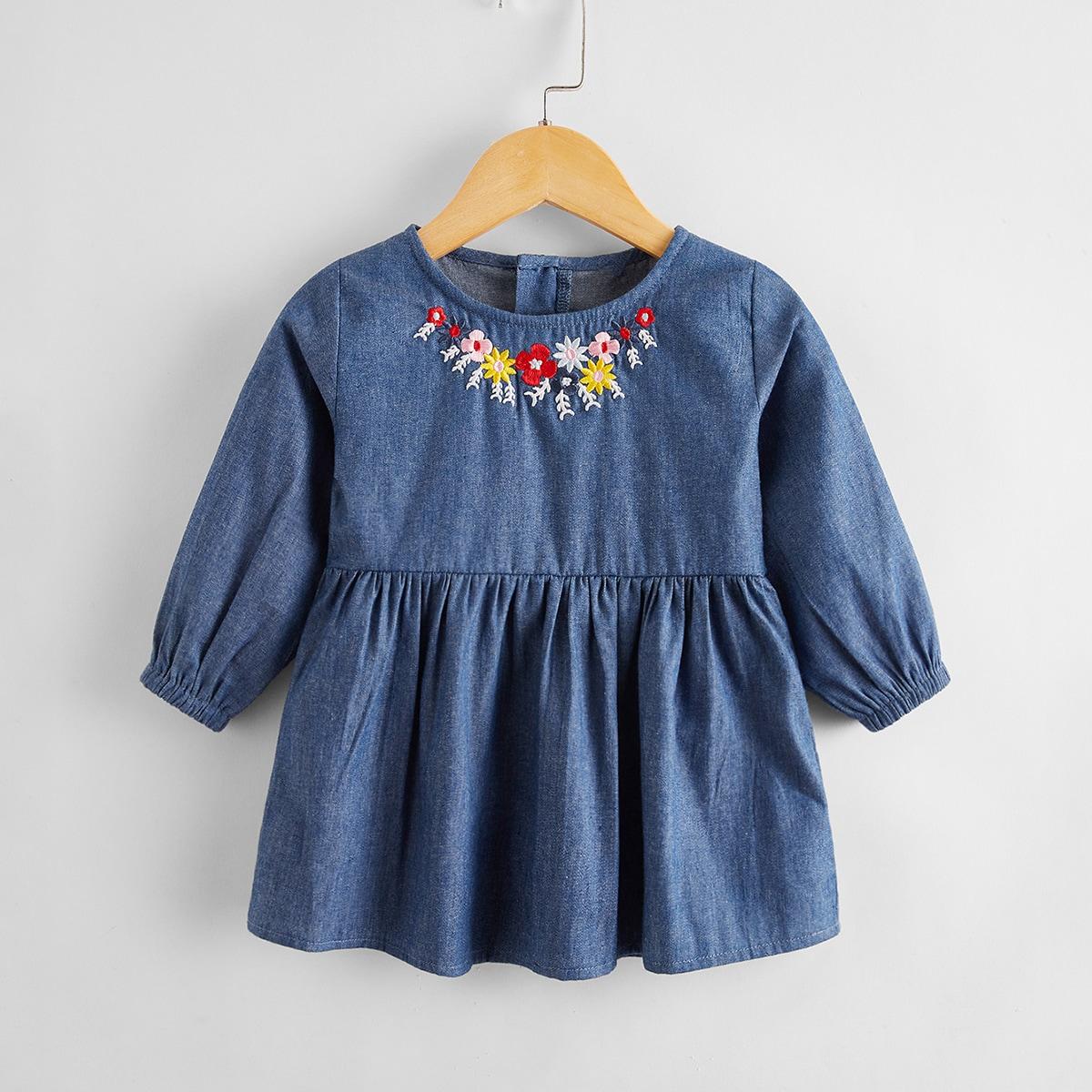 с вышивкой Со цветочками Деним для малышей от SHEIN