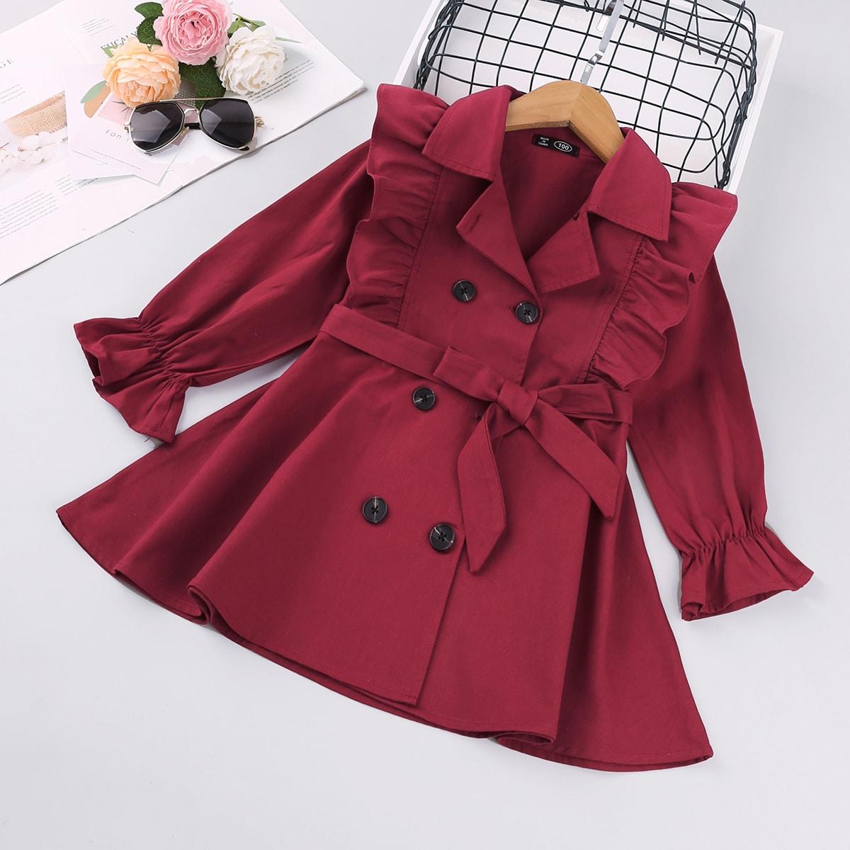 Двубортное пальто с оборками и поясом для девочек