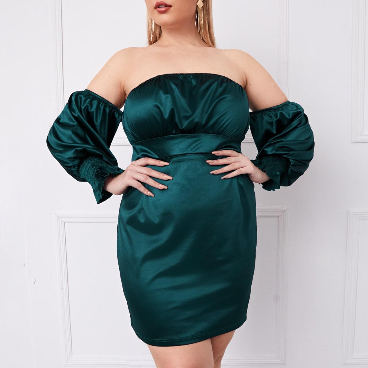 Атласное платье размера плюс с открытыми плечами и пышными рукавами