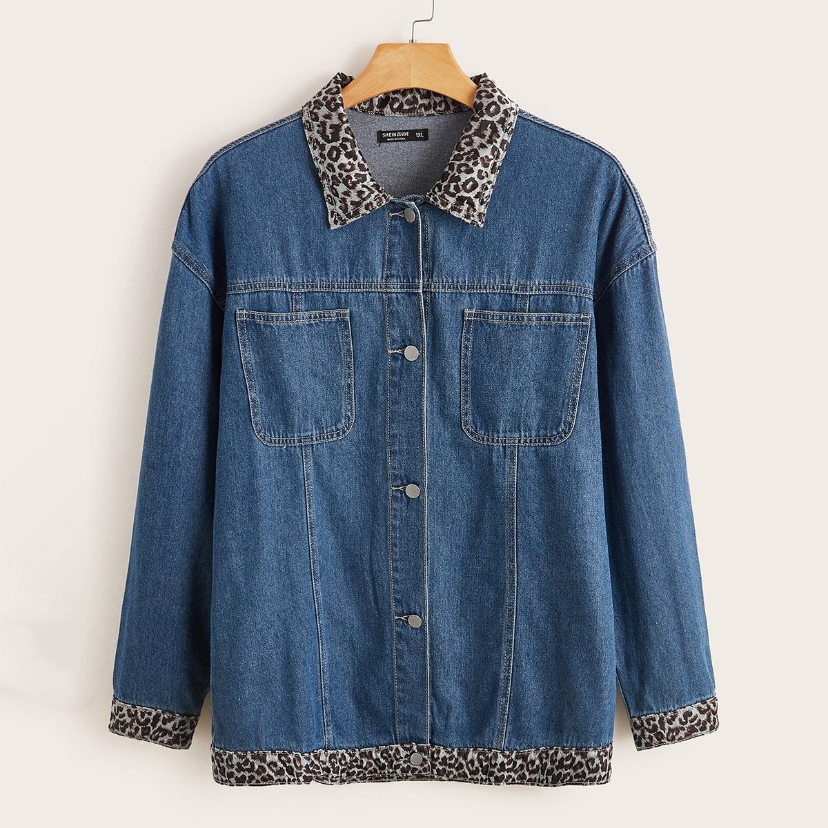 Джинсовая куртка размера плюс с леопардовым принтом и карманом