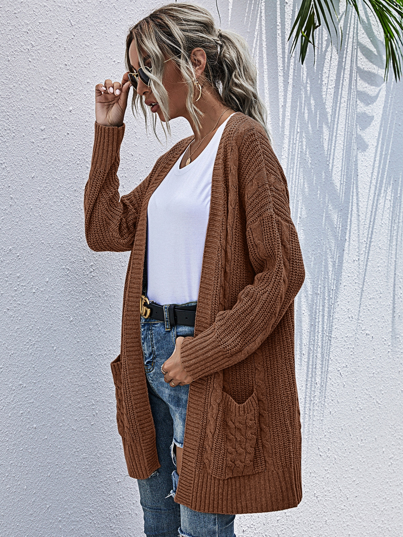Pocket Patched Cable Knit Cardigan thumbnail