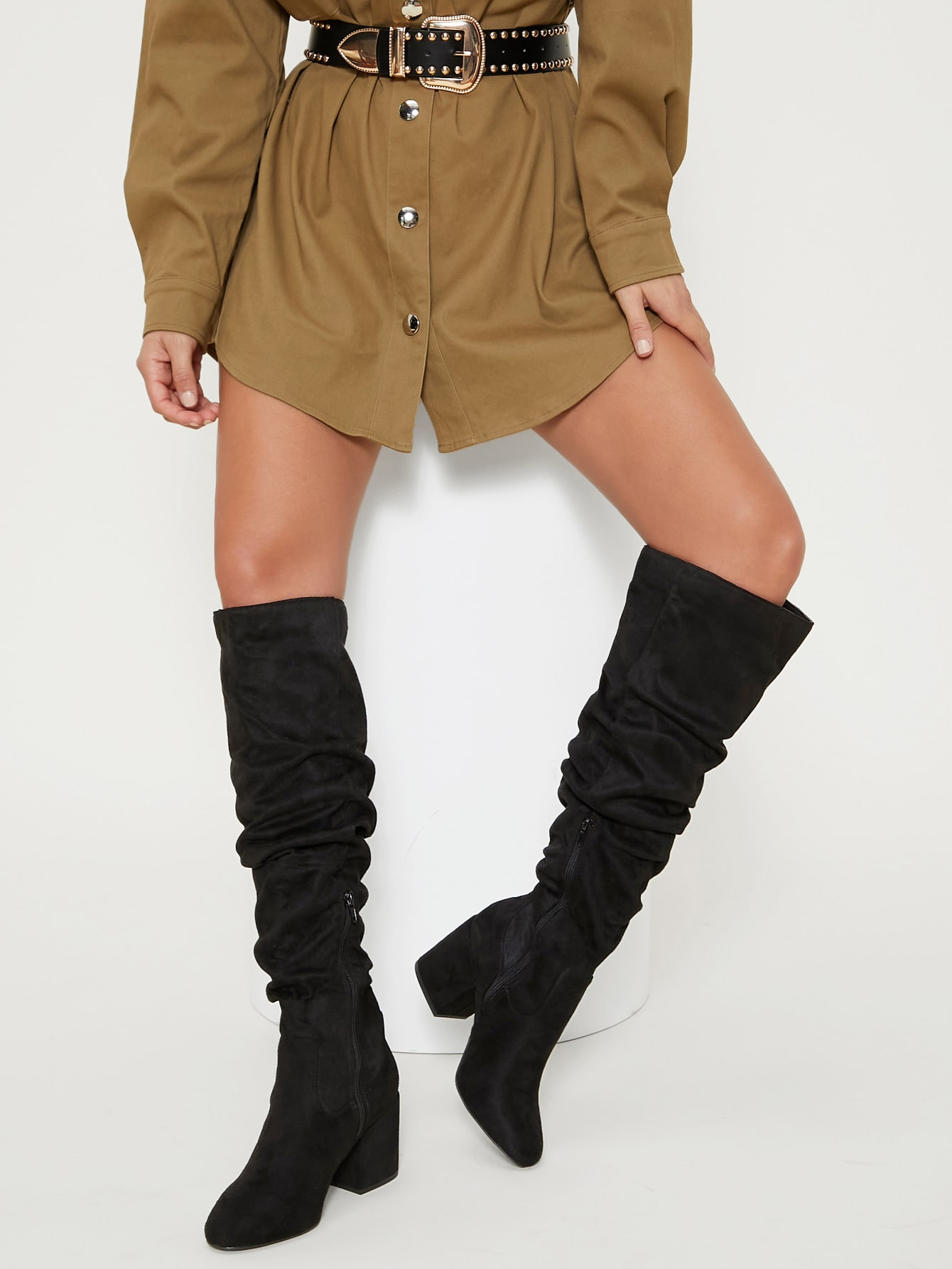 Faux Suede Thigh High Block Heel Boots