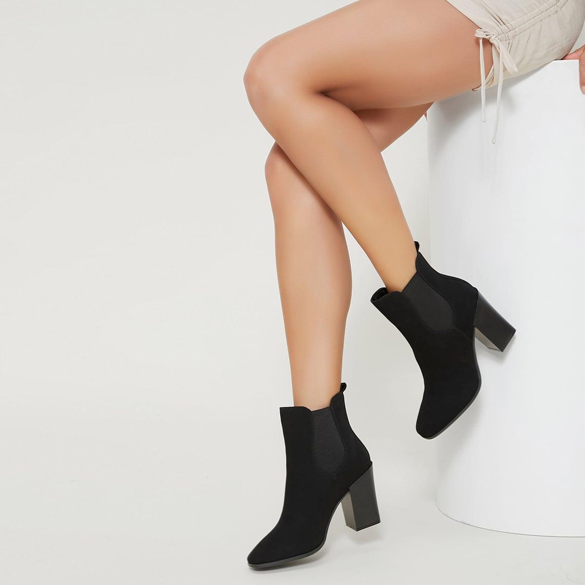 Сапоги челси на высоком каблуке из искусственного нубука