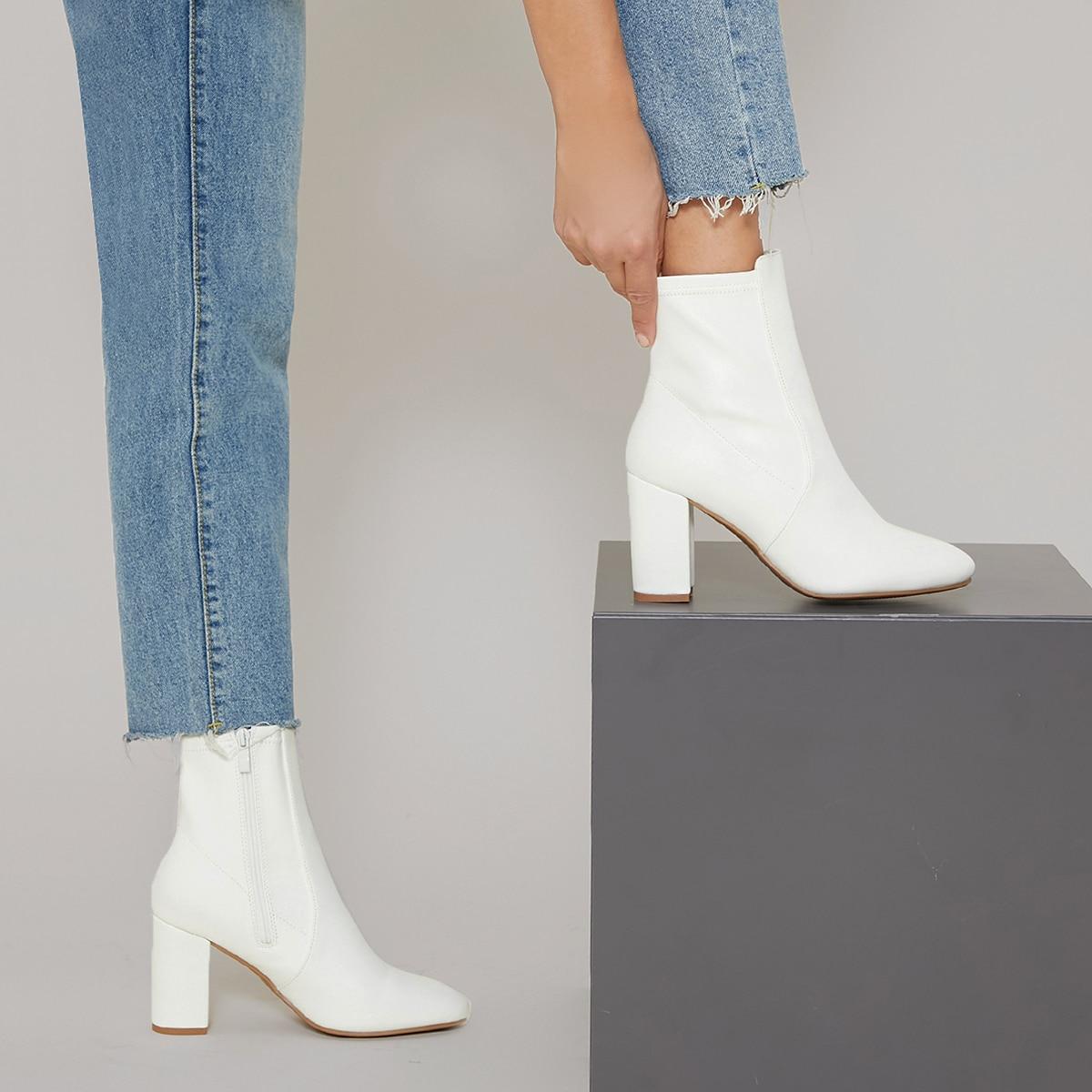 Vegan Leather High Block Heel Boots