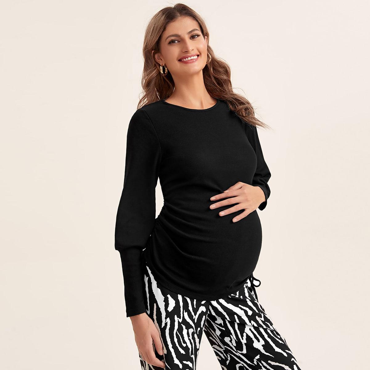 Однотонная футболка для беременных с оригинальным рукавом