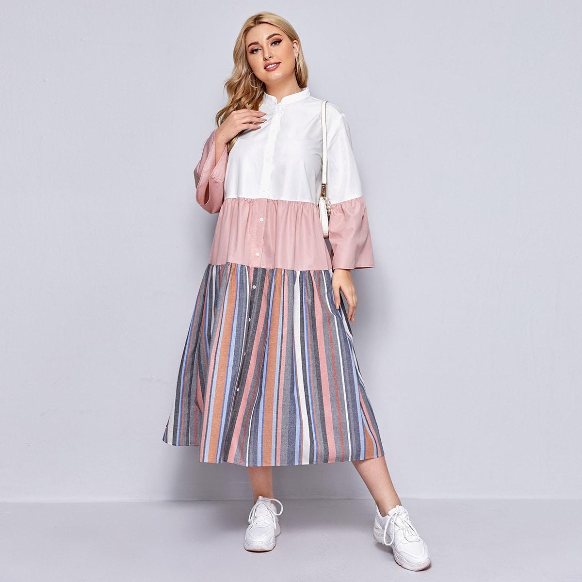 Plus Bell Sleeve Colorblock Shirt Dress