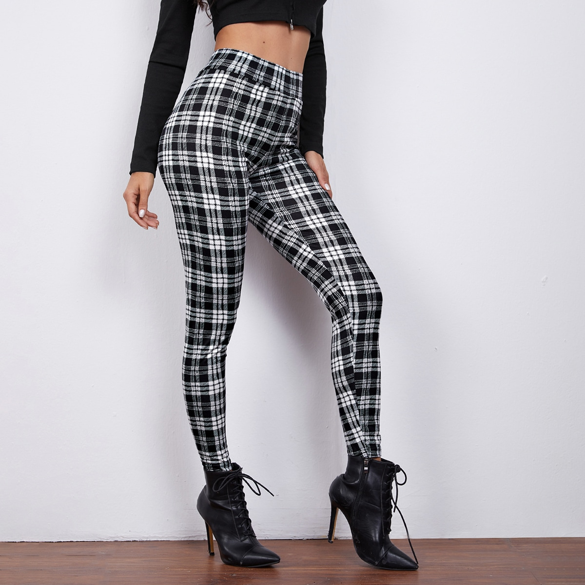 High Waist Plaid Leggings