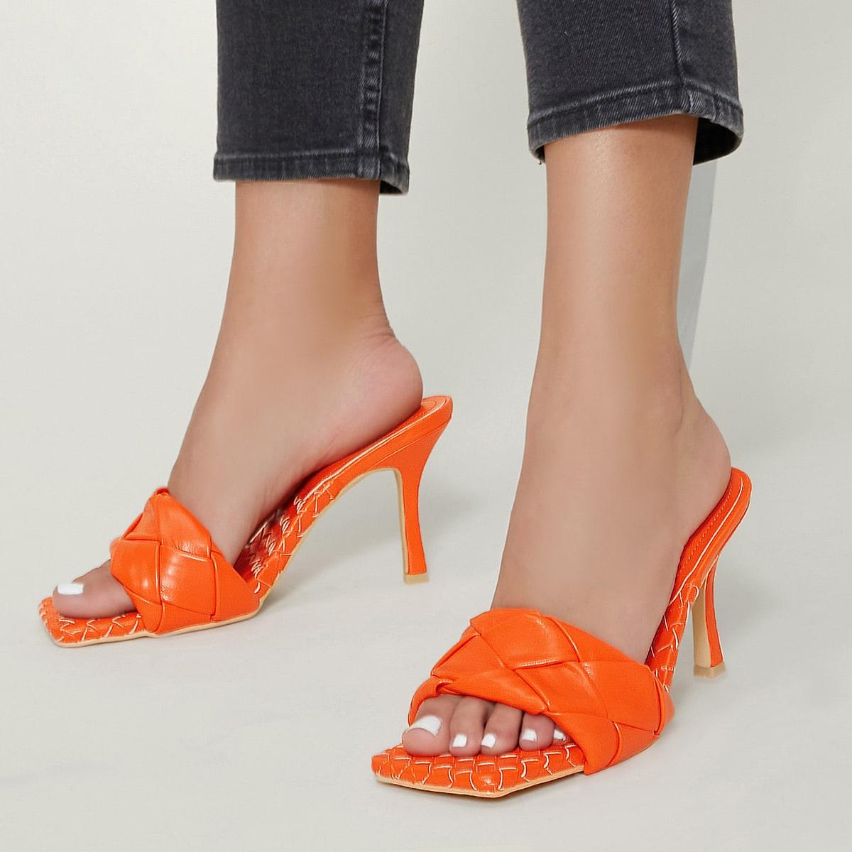 Стеганые туфли на каблуке из искусственной кожи