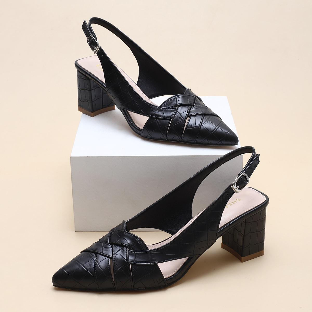 Туфли на массивном каблуке с крокодиловым тиснением