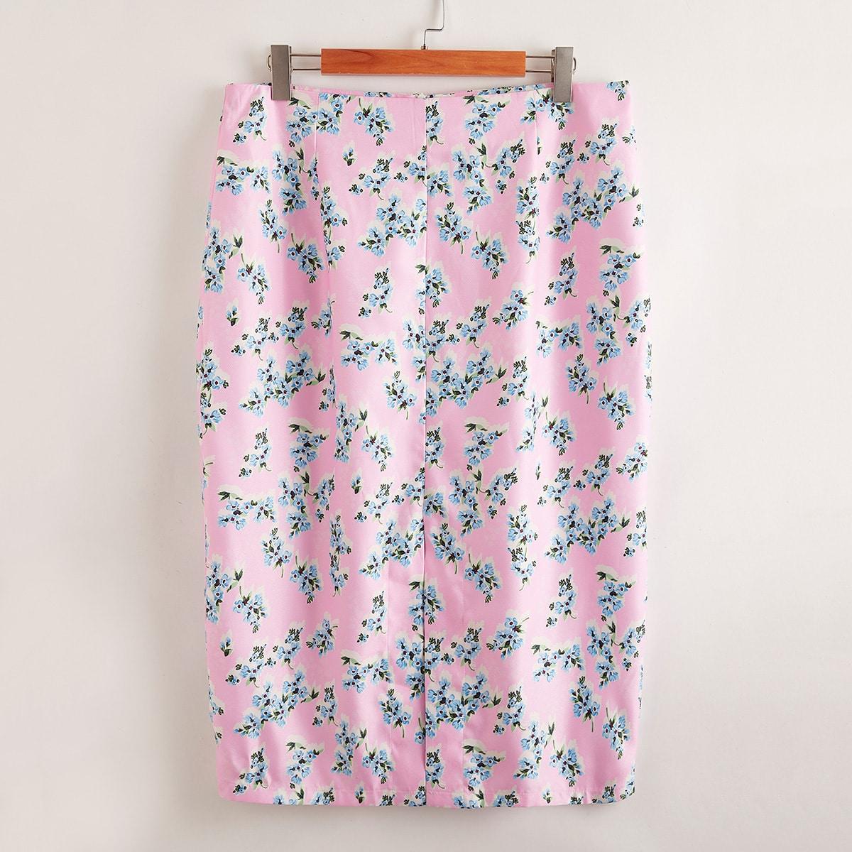 На молнии цветочный повседневный юбки размер плюс