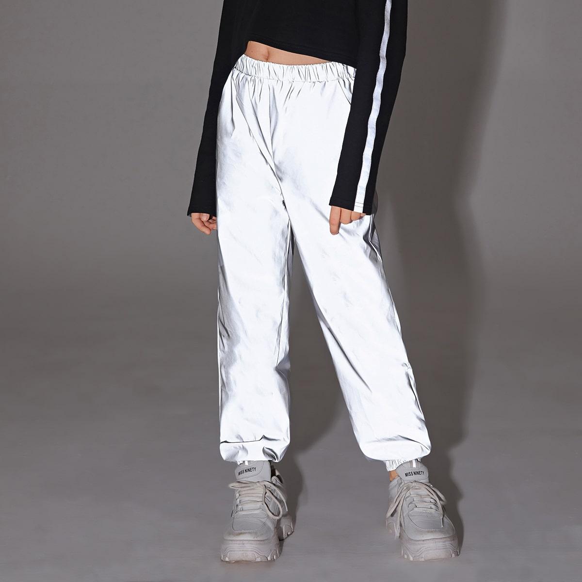 Светоотражающие брюки с карманом для девочек