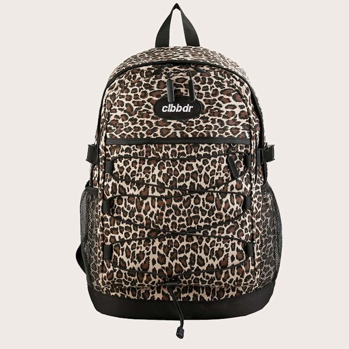 Рюкзак с леопардовым принтом на кулиске