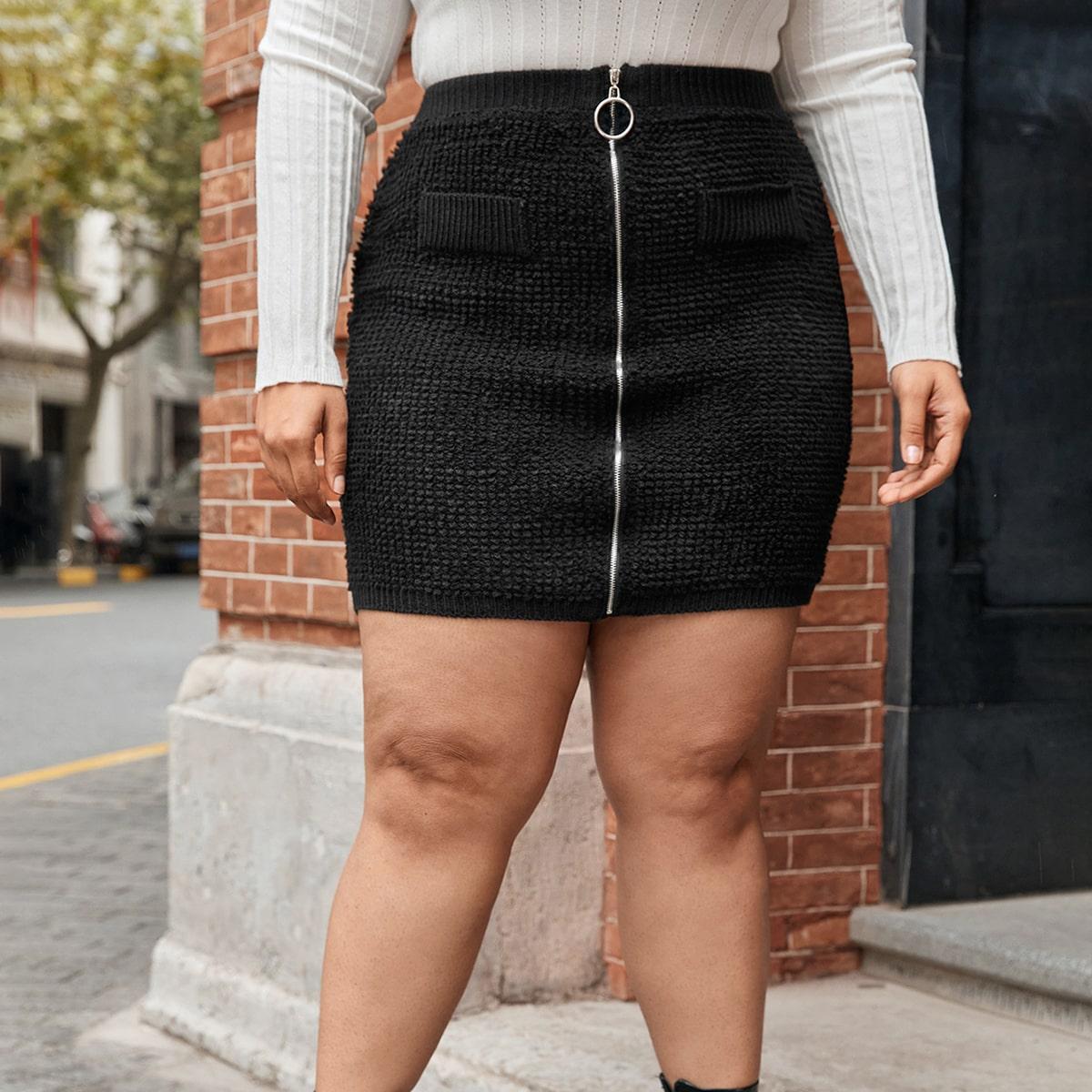 Трикотажная юбка на молнии размера плюс