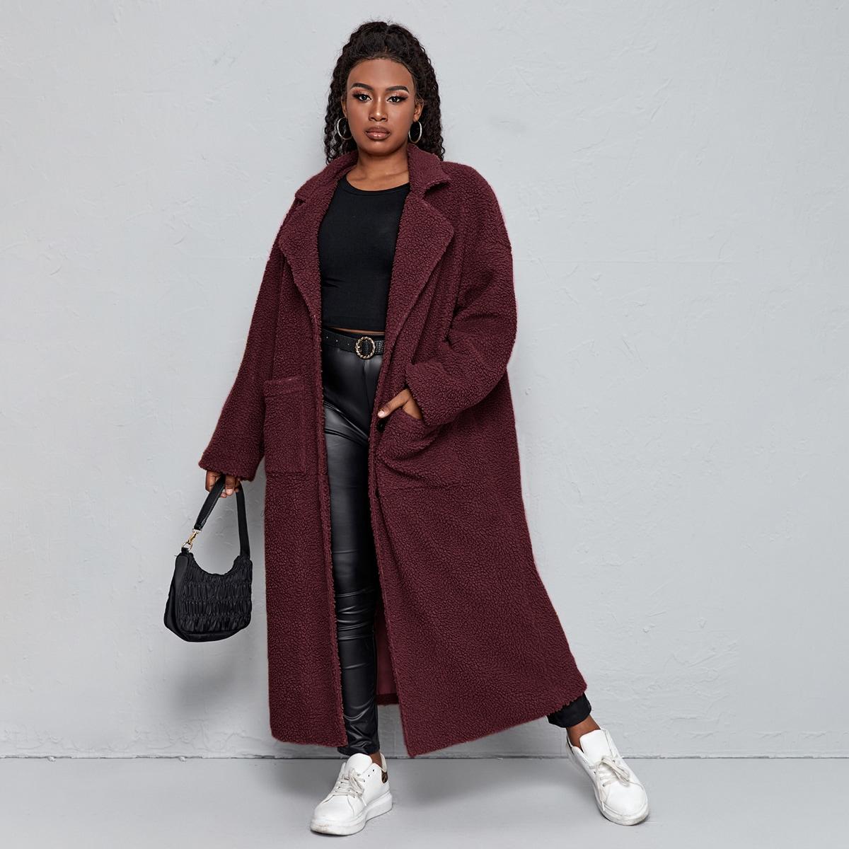 Плюшевое пальто размера плюс с карманом