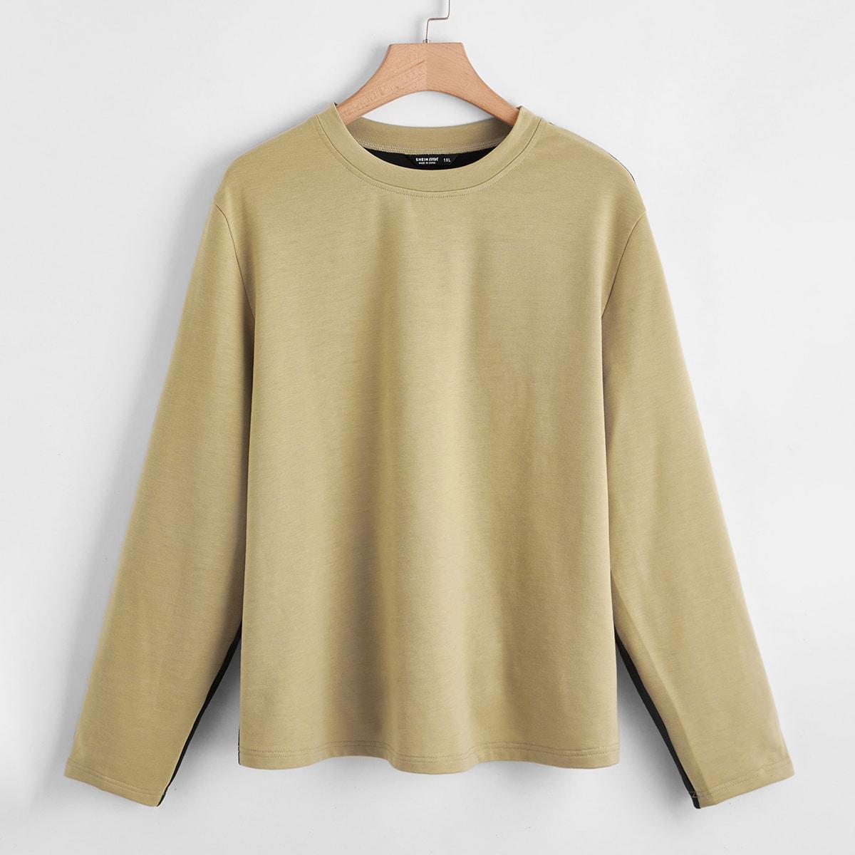 Контрастный цвет повседневный футболка размера плюс