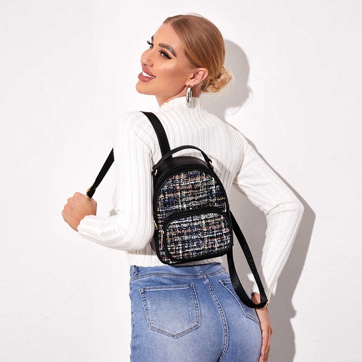 Твидовый рюкзак с карманом
