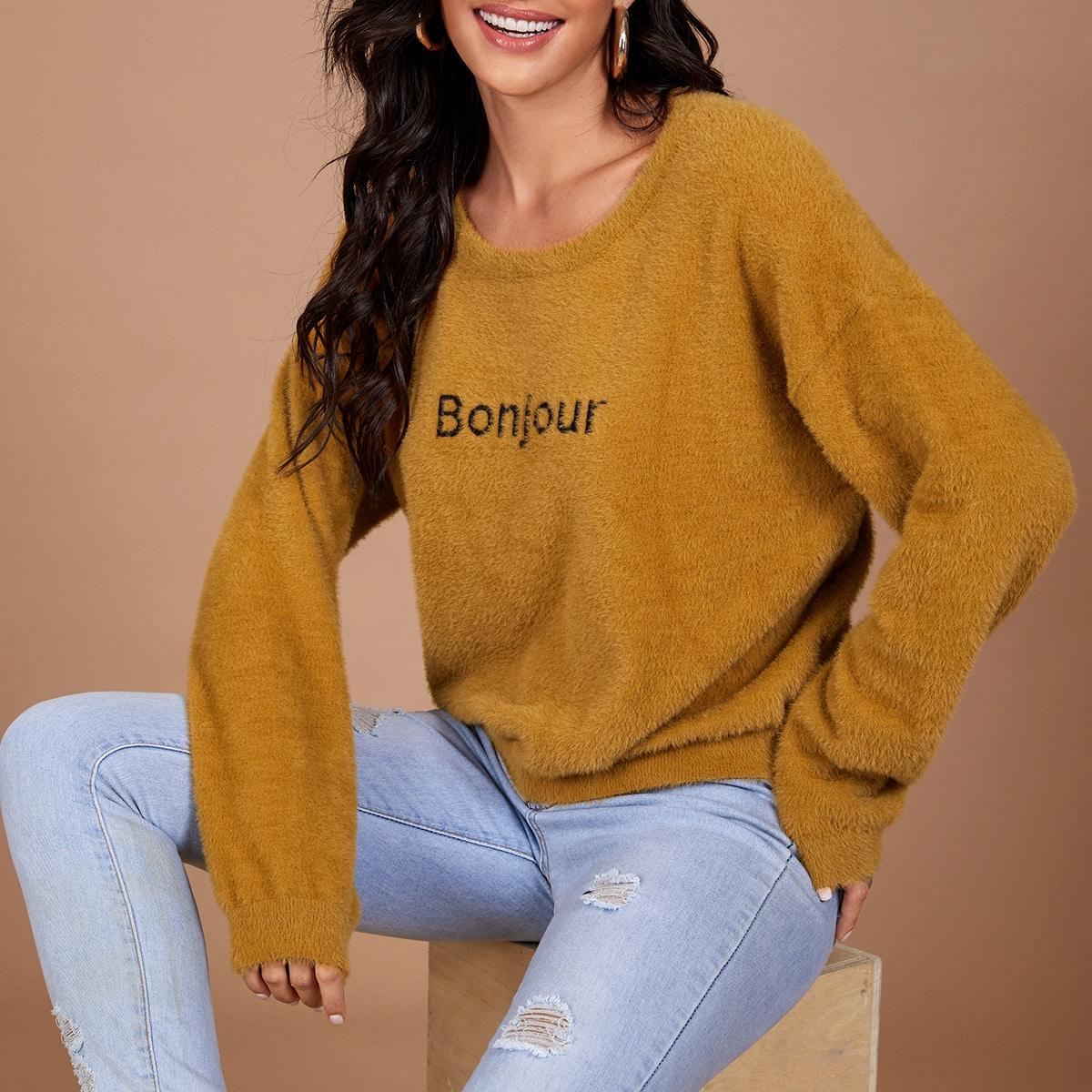 Плюшевый свитер с вышивкой