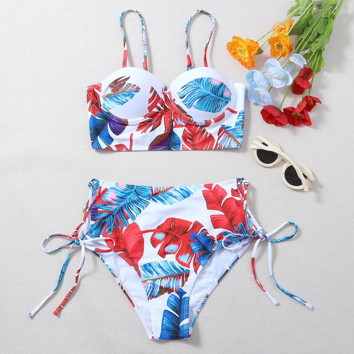 Tropical Push Up Tie Side Bikini Swimsuit