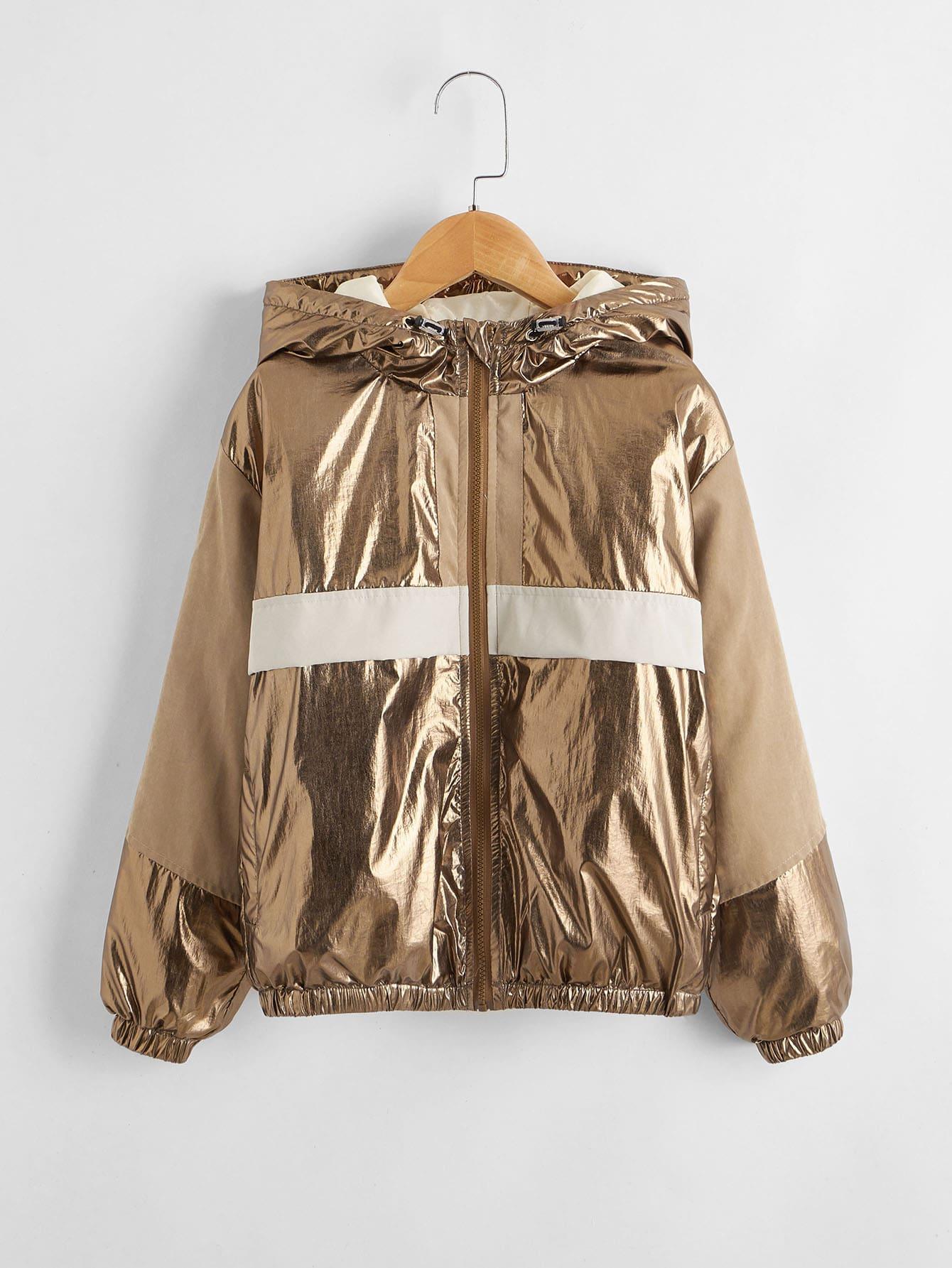 Boys Colorblock Metallic Zipper Placket Hooded Jacket