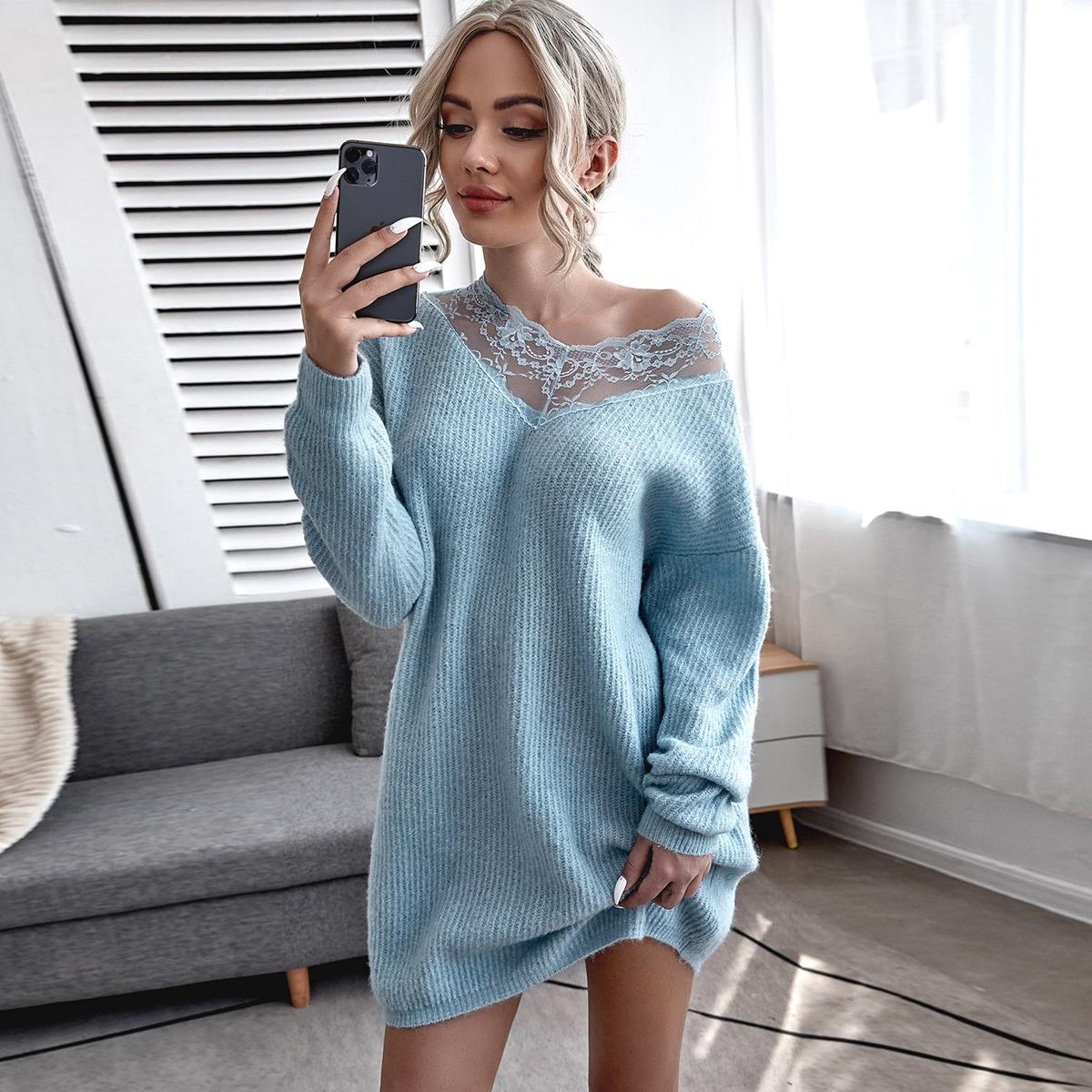 Контрастные кружева Одноцветный Повседневный Платья-свитеры