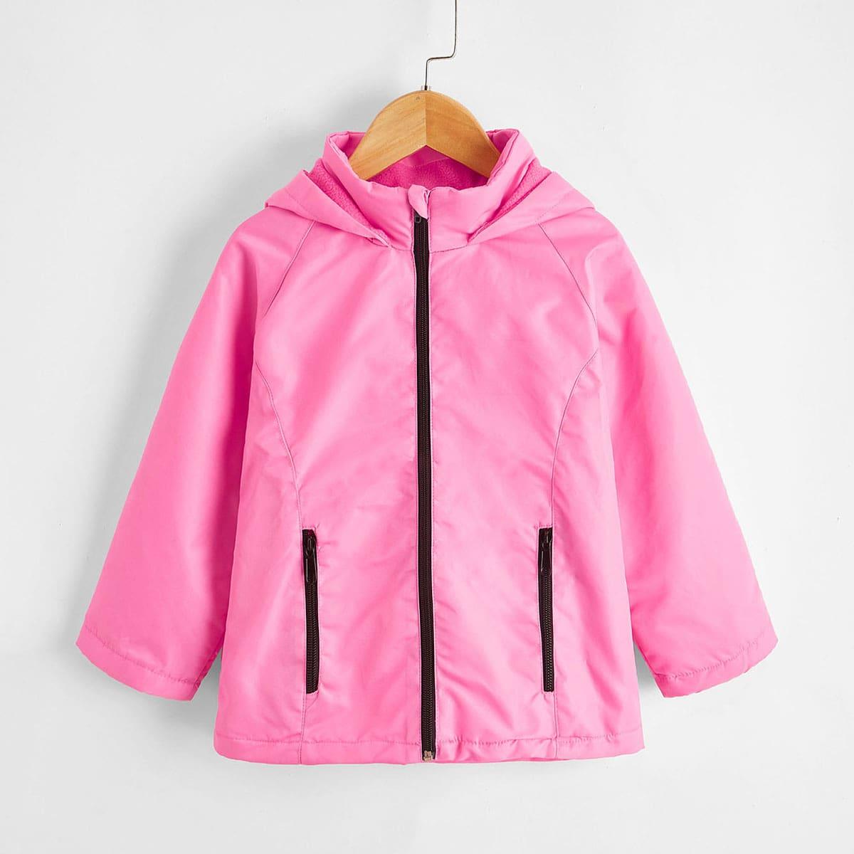 На молнии одноцветный повседневный куртки для девочек