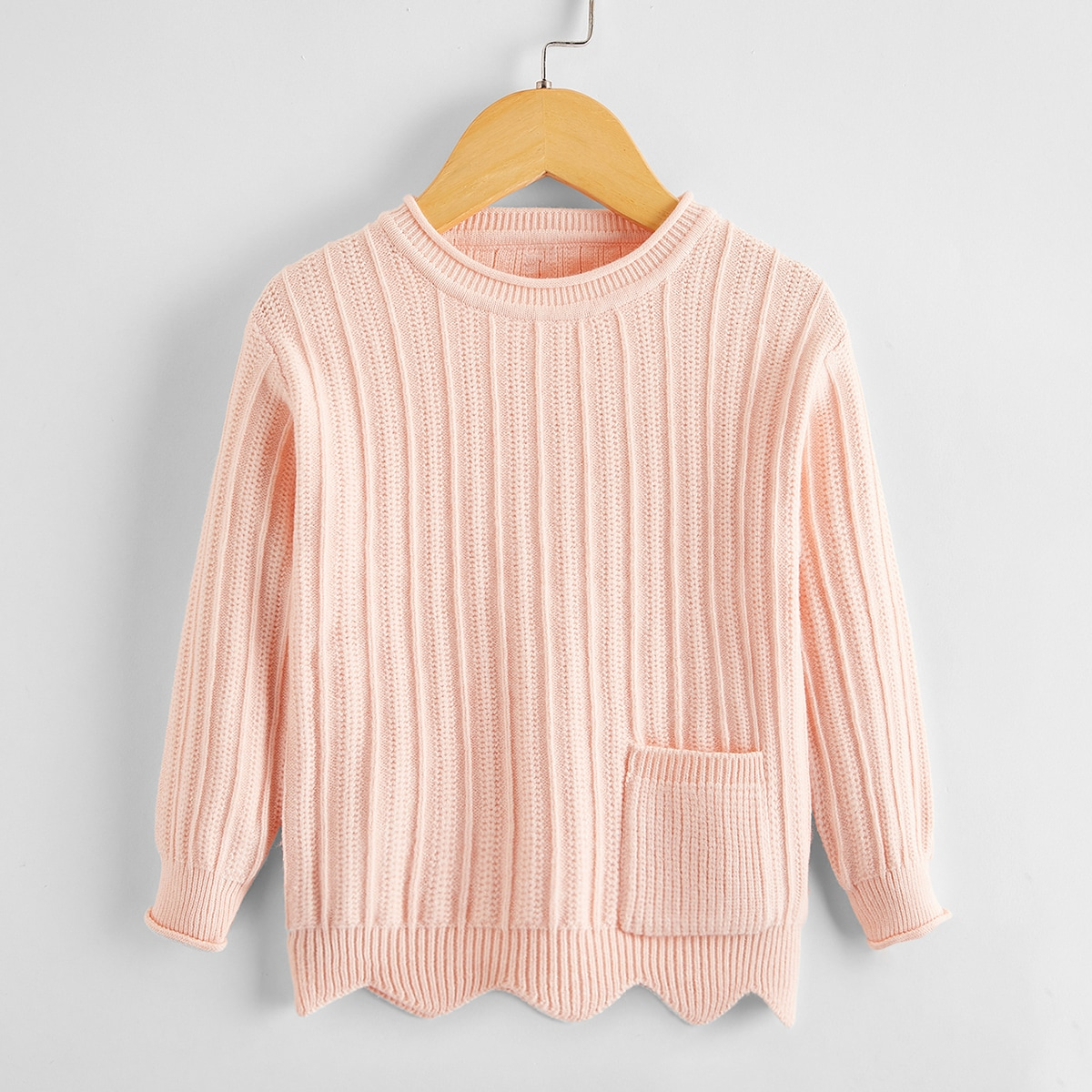 Карман одноцветный повседневный свитеры для девочек