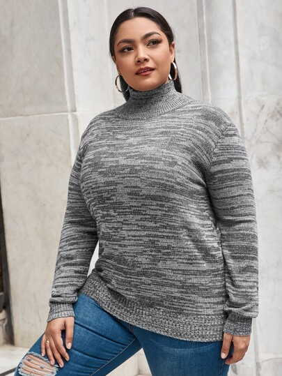 Plus High Neck Space Dye Sweater