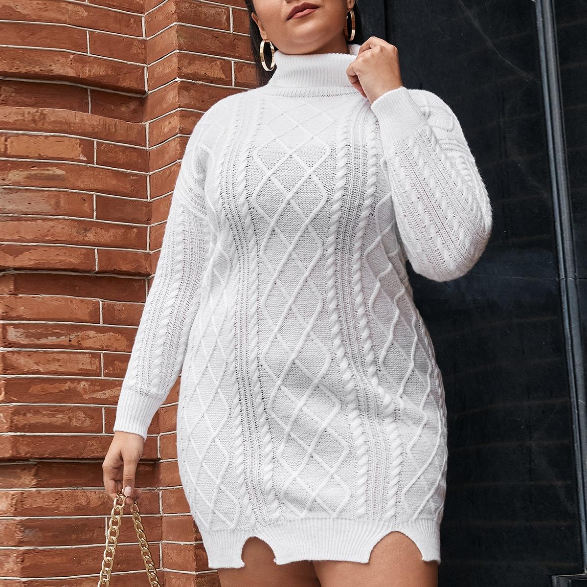 Трикотажное платье размера плюс с высоким воротником