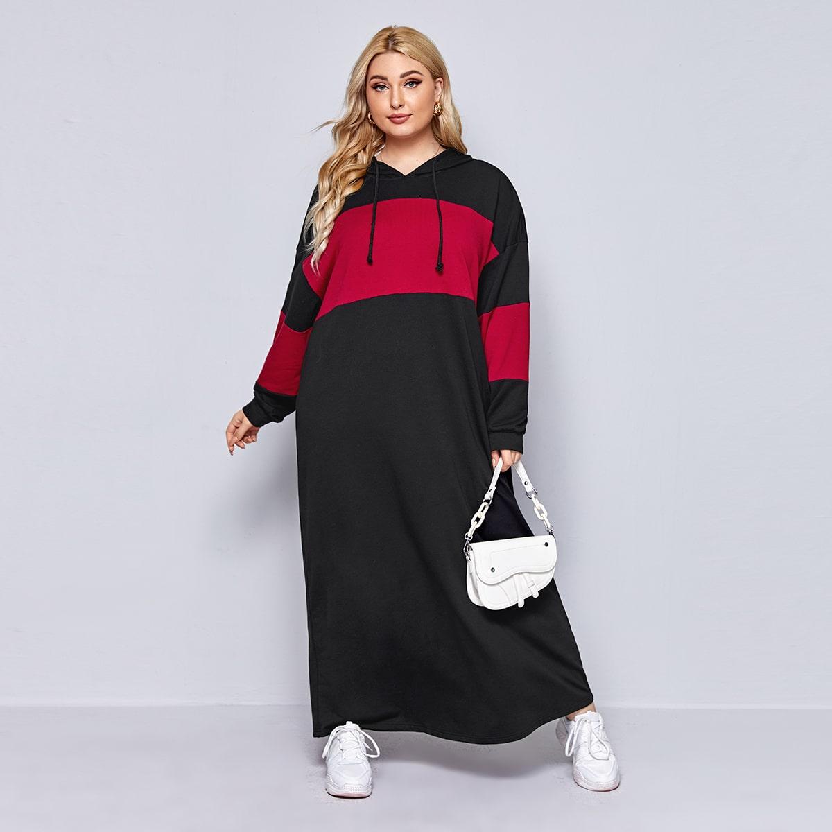 Двухцветное платье с капюшоном размера плюс